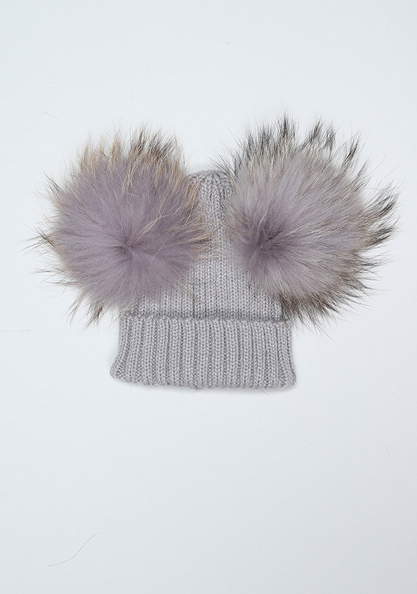 b05e50ef67173 Baby Children grey hat with double fur pom pom- Bobble Babies ...