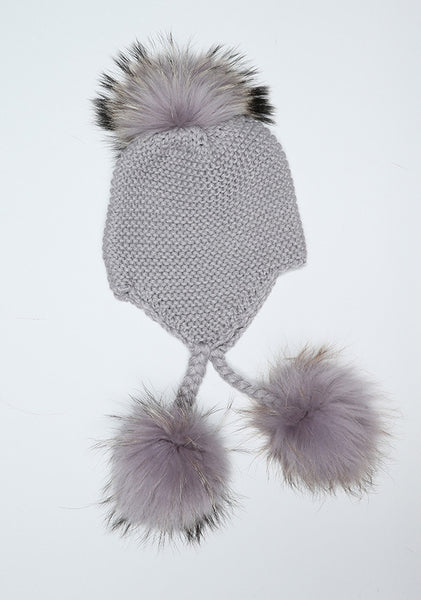 Light Grey Triple Pom Pom hat