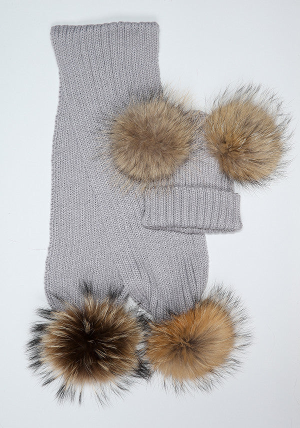 Light Grey Double Hat & Scarf Set