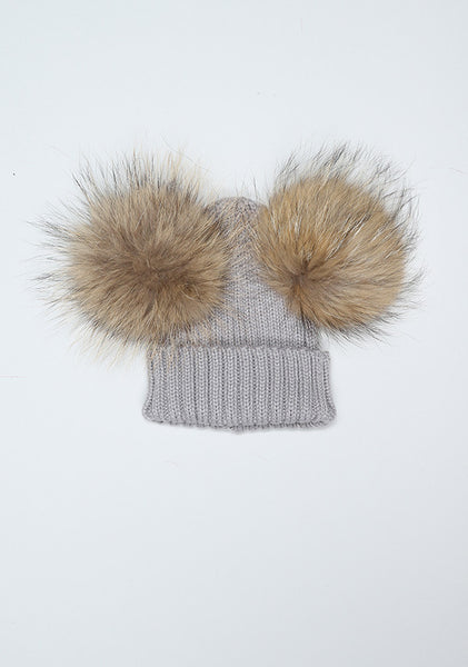 Light Grey Double PomPom Hat