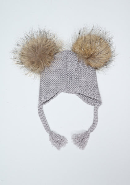 Light Grey Double Pom Bomber Hat