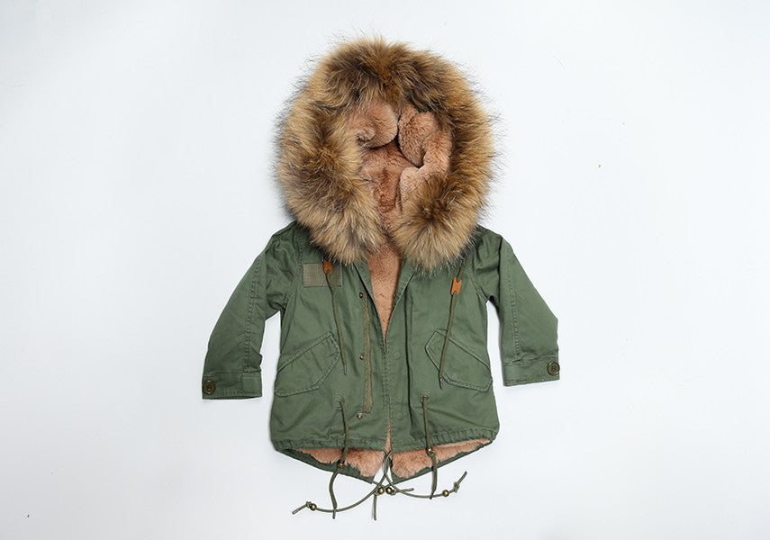 Bobble Babies Khaki Kids Parka coat with Natural Hood and Lining