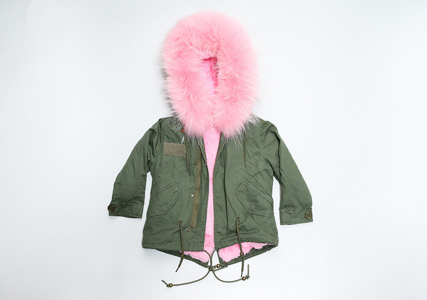 d8ba43a74f0b6 Children s khaki parka coat with pink fur hood – Bobblebabies