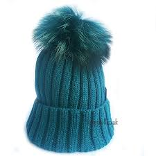 Teal Single Pompom hat