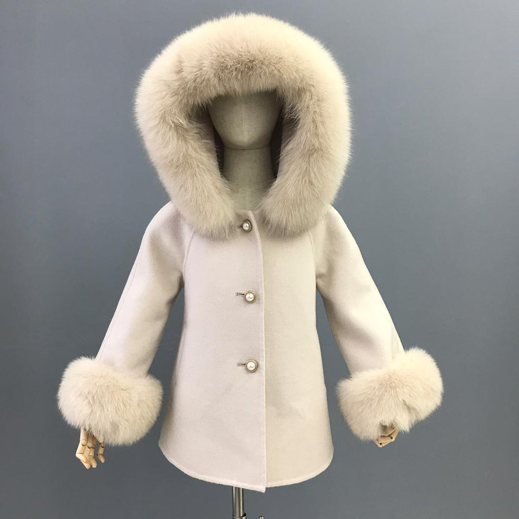 Cashmere Jacket with natural fur trim hood and cuffs - Nude