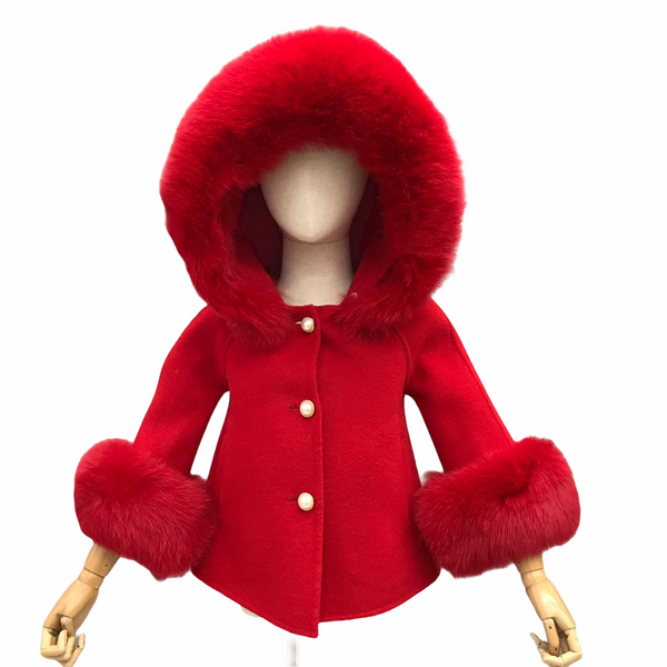 LIMITED EDITION cashmere cuff coat in red