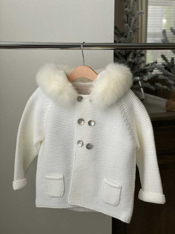 Bobble Babies knitted jacket in ivory