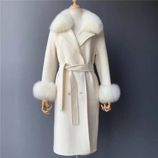 Womens 'Lana' Cashmere coat with fur cuff