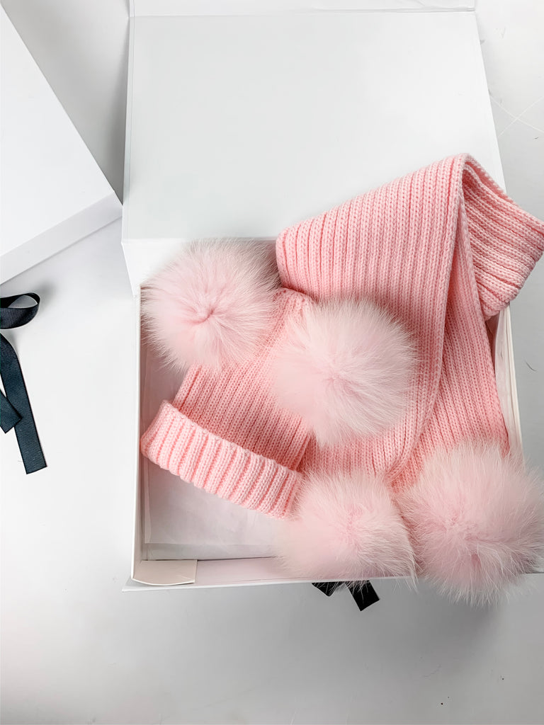 Luxe Double Pom  Hat & Scarf Gift Set