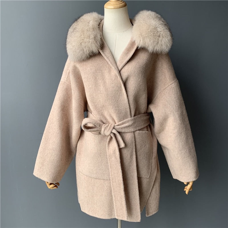 Womens Cashmere belted coat