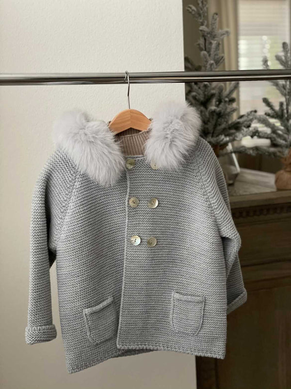 Bobble Babies knitted jacket in Steel Grey