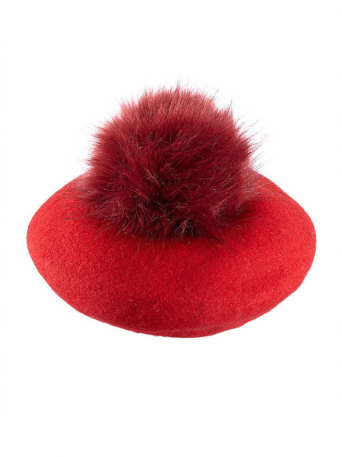 Pompom Beret in Red