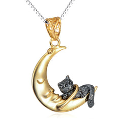 Cat Resting on the Moon Sterling Silver Necklace - Love Kitty Cat