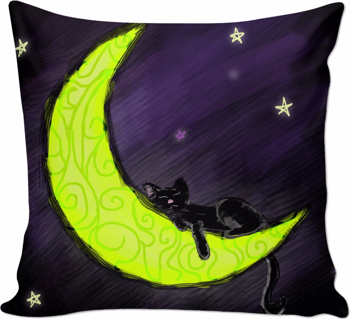 Cat Sleeping on the Moon Couch Pillow