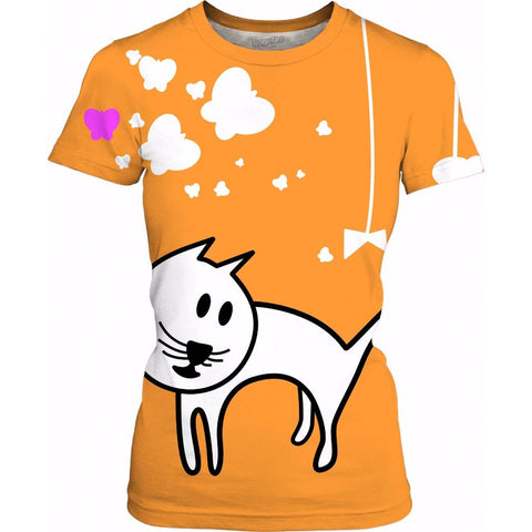 Butterflies & A Cat All-Over-Print Orange Women's Shirt - Love Kitty Cat