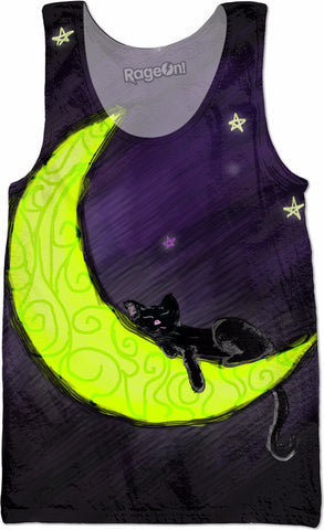 Cat Sleeping On The Moon All-Over-Print Tank Top - Love Kitty Cat