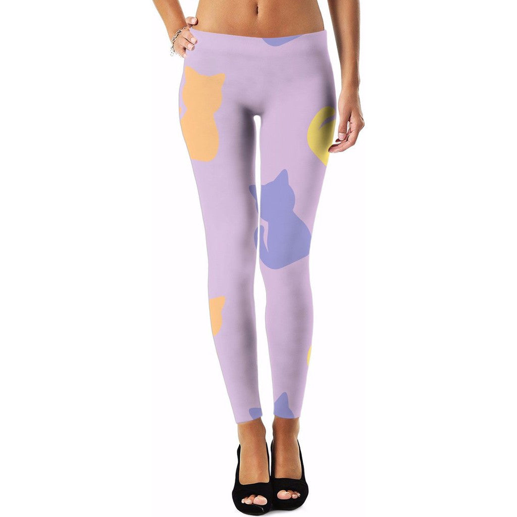 Pastel-Colored Cats All-Over Print Leggings