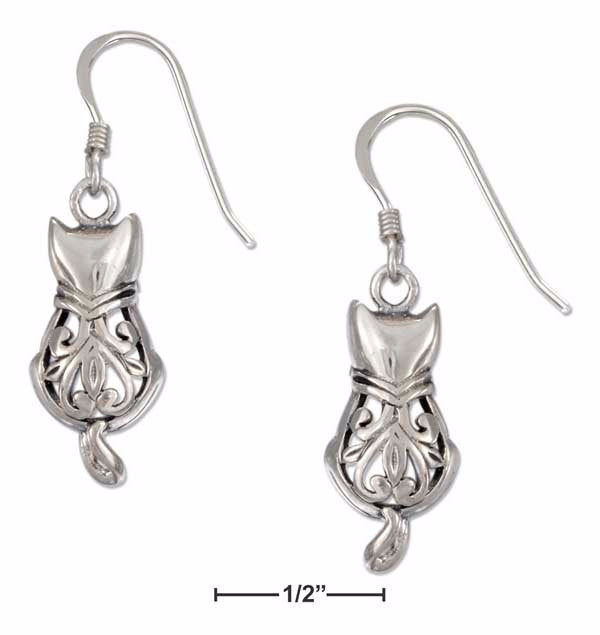 Whimsical Filigree Cat With Curled Tail Sterling Silver Earrings
