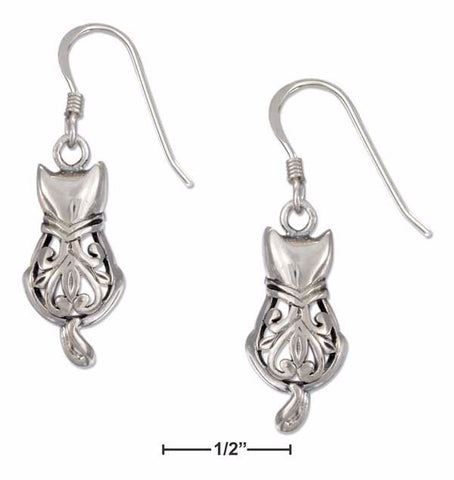 Whimsical Filigree Cat With Curled Tail Sterling Silver Earrings - Love Kitty Cat