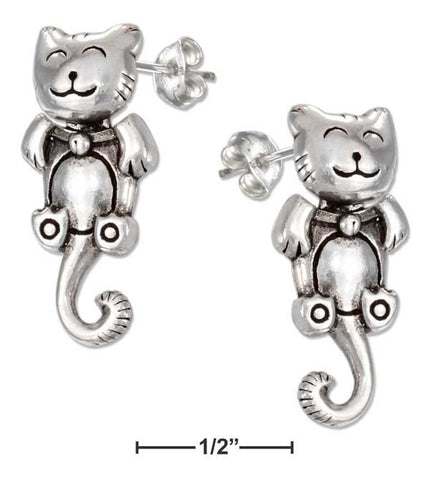 Movable Happy Kitty Cat With Curly Tail Sterling Silver Earrings