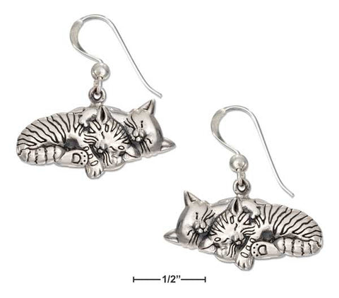 Two Sleeping Kitty Cats Sterling Silver Earrings - Love Kitty Cat