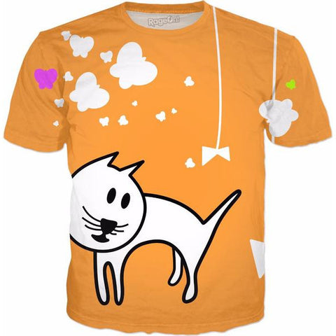 Butterflies & A Cat Orange All-Over-Print Unisex T-Shirt - Love Kitty Cat