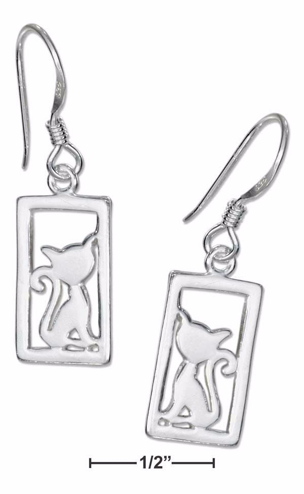 Silhouette Framed Cat Sterling Silver Earrings on French Wires - Love Kitty Cat