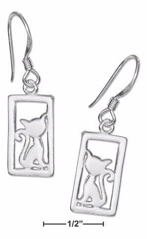 Silhouette Framed Cat Sterling Silver Earrings on French Wires