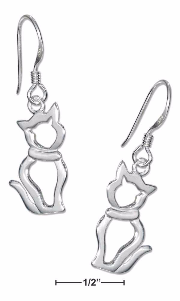 Silhouette Sitting Cat Sterling Silver Earrings on French Wires