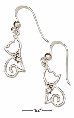 Silhouette Sitting Cat With Star Collar Sterling Silver Earrings - Love Kitty Cat