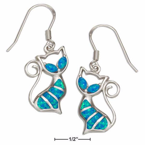Blue Opal & Sterling Silver Aristocrat Cat Earrings - Love Kitty Cat
