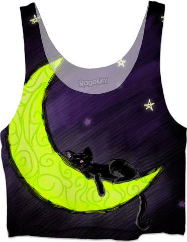 Cat Sleeping on the Moon Crop Top - Love Kitty Cat