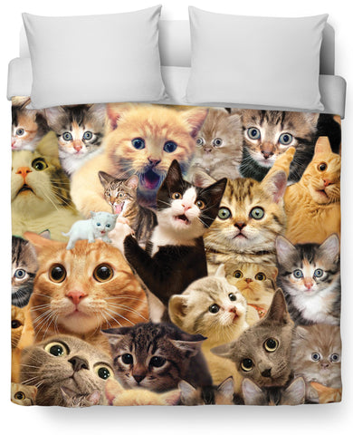 Surprised Cats All-Over Print Duvet Cover - Love Kitty Cat
