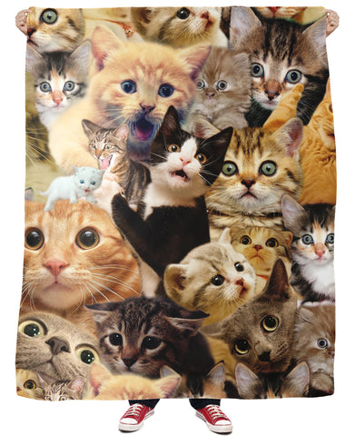 Surprised Cats All-Over Print Fleece Blanket - Love Kitty Cat