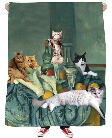 Still Cat All-Over Print Fleece Blanket - Love Kitty Cat