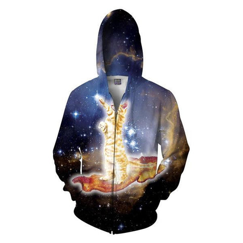 Bacon Cat All-Over-Print Zip-Up Hoodie - Love Kitty Cat