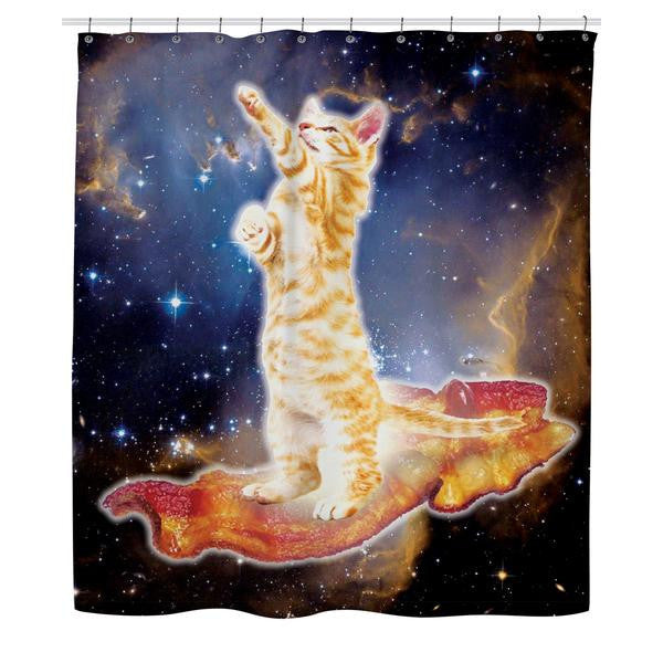 Bacon Cat All-Over-Print Shower Curtain - Love Kitty Cat