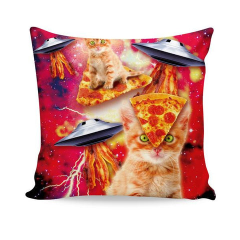 Bacon Pizza Space Cat All-Over-Print Couch Pillow - Love Kitty Cat