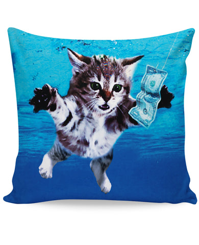 Cat Cobain All-Over Print Couch Pillow - Love Kitty Cat