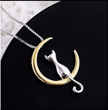 Cat Sitting on Crescent Moon Sterling Silver Necklace - Love Kitty Cat