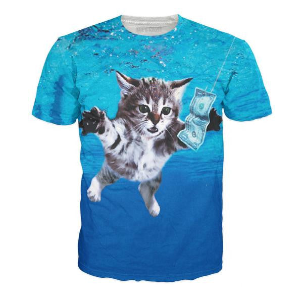 Cat Cobain 3-D Digital Print Shirt