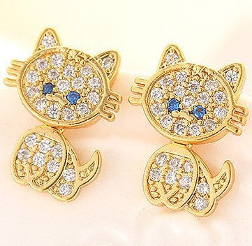 Sterling Silver or Gold-Tone Crystal Cat Earrings - Love Kitty Cat