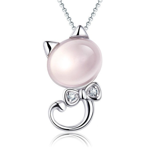 Rose Quartz & Sterling Silver Kitty Cat Necklace - Love Kitty Cat