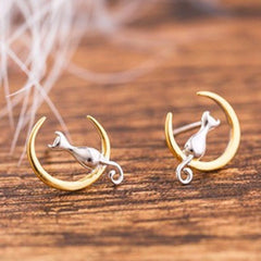 Cat Sitting on Crescent Moon Sterling Silver Earrings - Love Kitty Cat