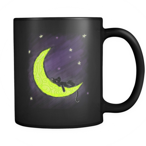 Cat Sleeping on the Moon Mug - Our Exclusive Design - Love Kitty Cat