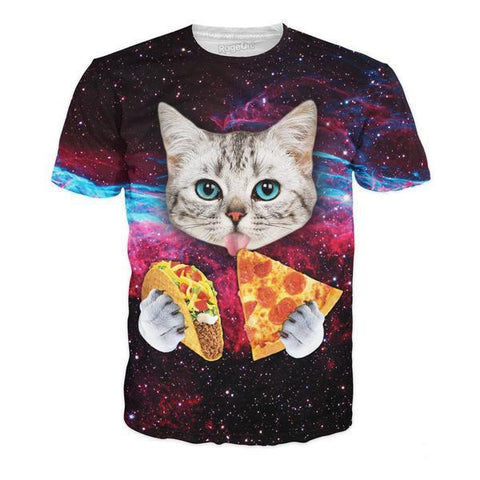 Taco & Pizza Cat All-Over Print Shirt - Love Kitty Cat