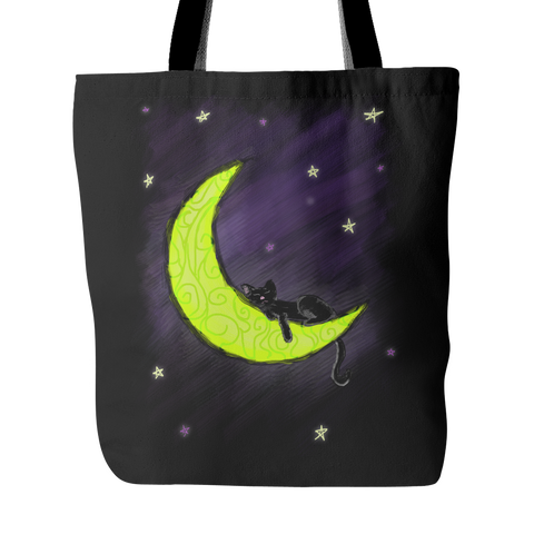 Cat Sleeping on the Moon Tote Bag - Our Exclusive Design - Love Kitty Cat