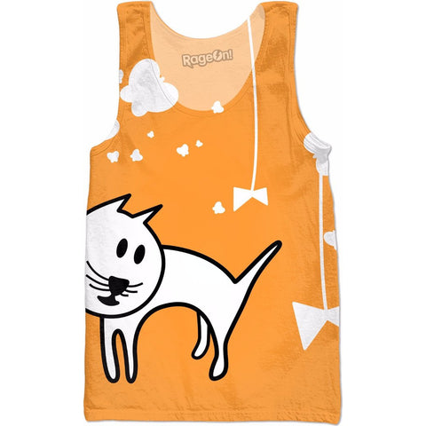 Butterflies & A Cat All-Over-Print Orange Tank top - Love Kitty Cat