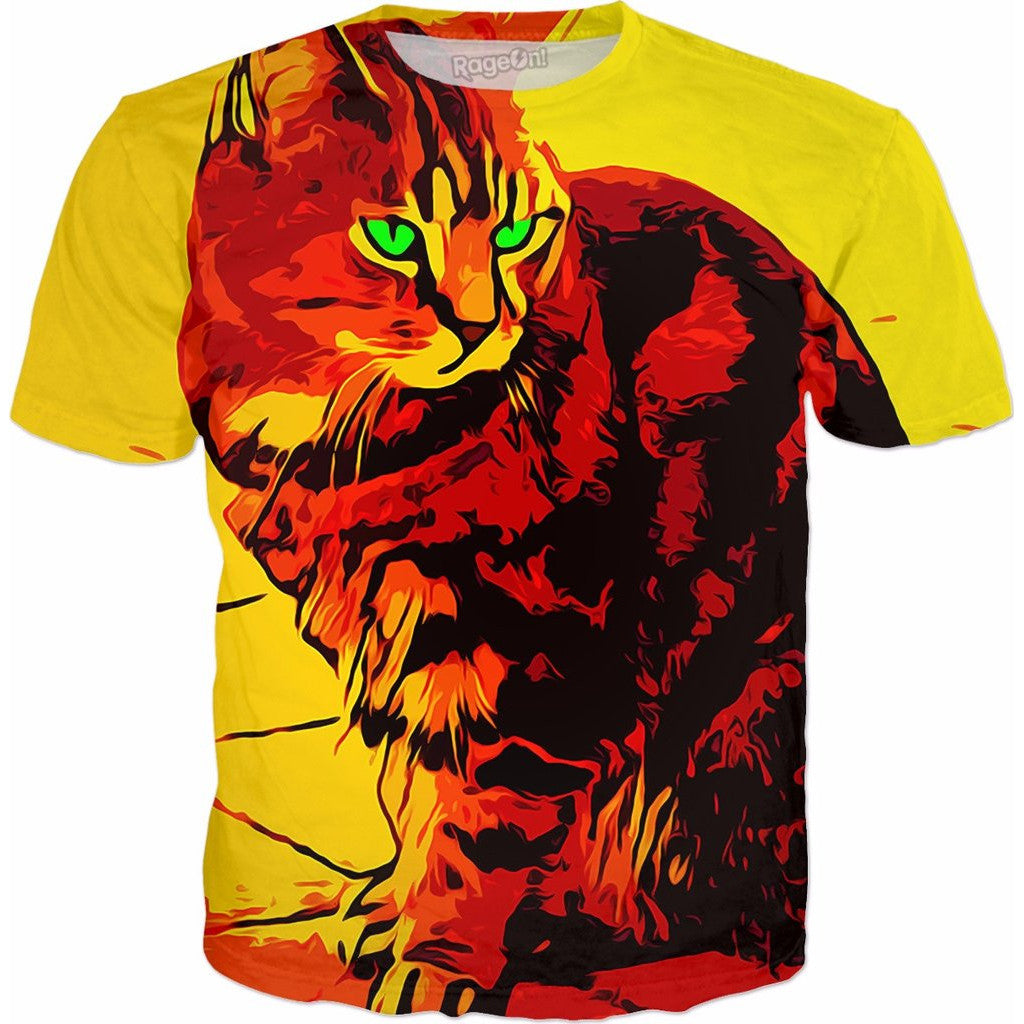 Fire Orange Tabby Cat All-Over-Print Shirt - Love Kitty Cat