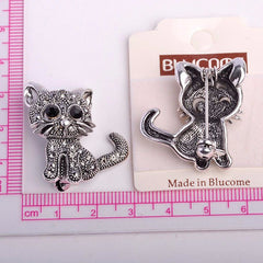 Cute Little Cat Antiqued-Silver Brooch - Love Kitty Cat